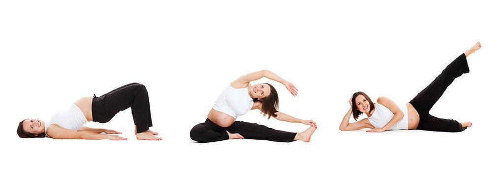 Mulher grávida em 3 posições de exercícios de fisioterapia para gestantes